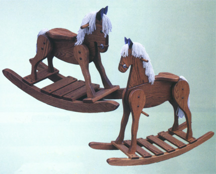 millwood amish made rocking horse in solid oak or poplar