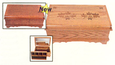 waterfall jewelry box amish made of solid oak with mirror and tray
