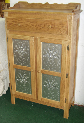 amish pantry cabinet four tin solid oak