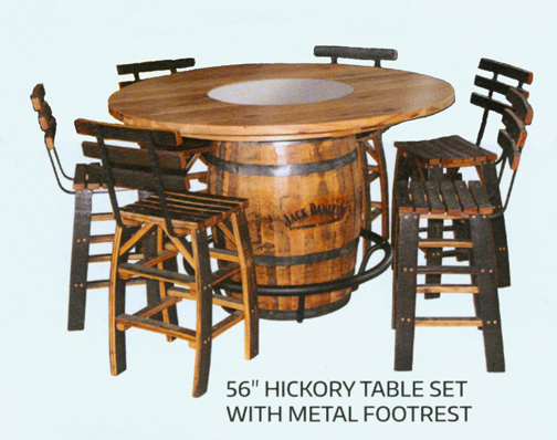 Amish Hickory Whiskey Barrel Table Set With Chairs Jack Daniels