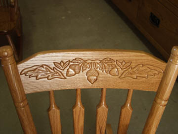 Acorn Back Detail of Solid Oak Children's Rocker