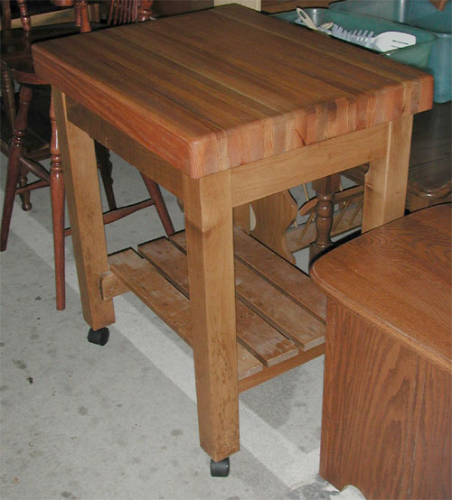 Amish Solid Oak And Maple Butcher Block Table With Shelf