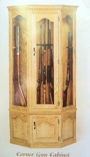 Amish Oak Corner Gun Cabinet With Carousel And Locking Storage