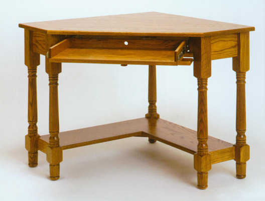 Amish Made Corner Computer Desk In Solid Oak Clayborne S