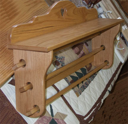 Amish Made Custom Wall Quilt Rack for Multiple Quilts - Solid Oak : quilt shelf wall hanger - Adamdwight.com