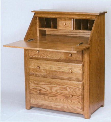 Drop front desk in solid oak made by the Amish