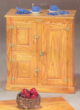 icebox solid oak 3 door stand or cabinet