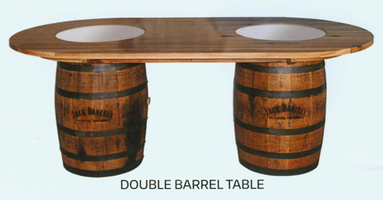 Amish double whiskey barrel table hickory or oak jack daniels