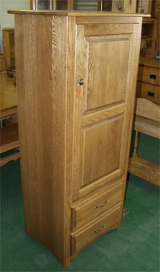 Amish made solid oak kitchen pantry with two shelves and two drawers
