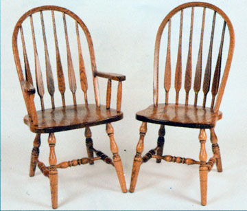 Amish chair high back feather of oak or cherry