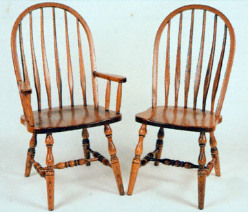 Amish chair high back bent feather of oak or cherry