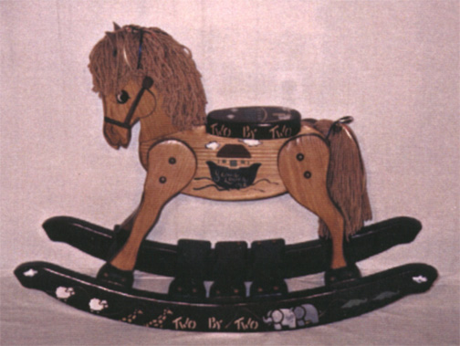 amish solid oak rocking horse with noahs ark theme