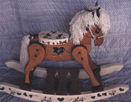 amish solid oak victorian rocking horse