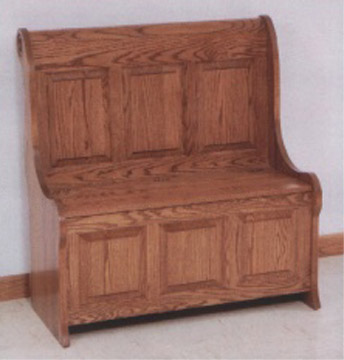 Raised Panel Sleigh Storage Bench In Oak Or Cherry By Clayborne 39 S Of Sc