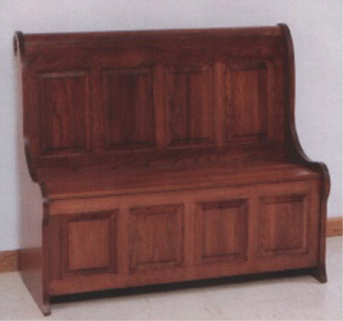 Four panel Amish made sleigh storage bench