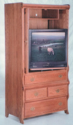sleigh style entertainment center, amish made in oak or cherry