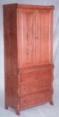 Solid oak armoire in sleigh style, handcrafted by the Amish