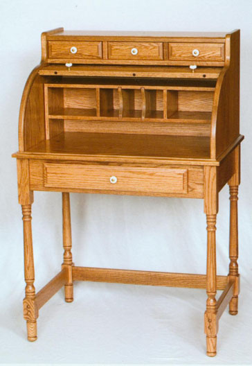 Solid Oak Mini Roll Top Desk Made By The Amish
