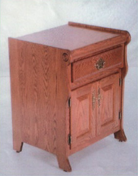 Sleigh style solid oak nightstand made by the Amish