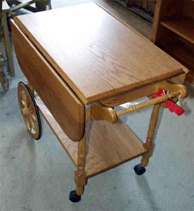 Amish tea cart made of solid oak - alternate view