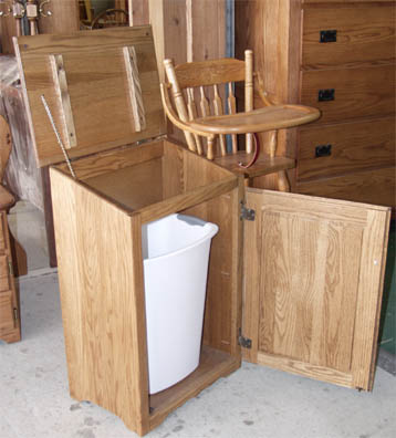 Amish made solid oak trash can enclosure - inside view