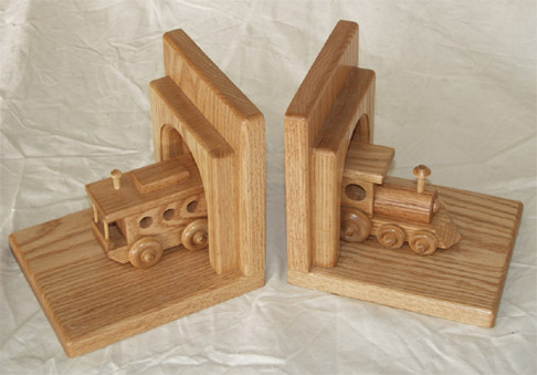 train bookends by amish in solid oak