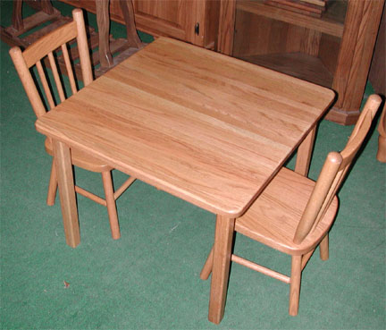 Childs table and chairs, made by the Amish of solid oak