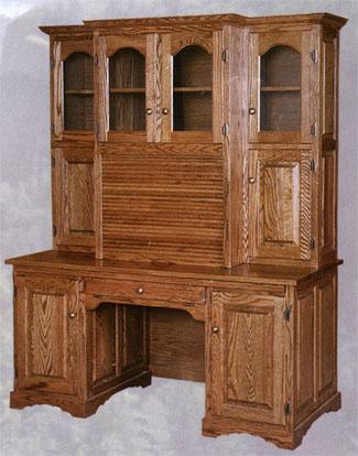 Claybornes Amish Furniture of SC Roll Top Computer Hutch