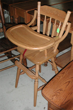 Amish made high chair solid oak flip top