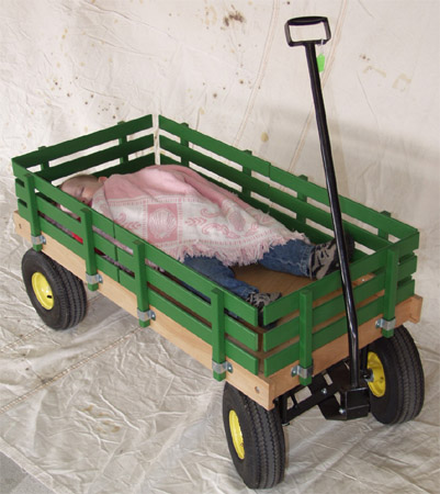 heavy duty green wagon with removable sides and balloon tires