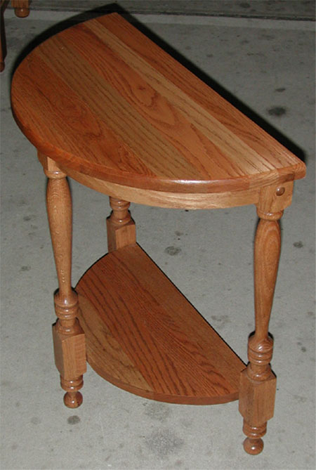 Amish Solid Oak Half Moon Table