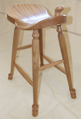 Amish Solid Oak Saddle Stool With Horn And Hoof Feet By Clayborne S Of Sc