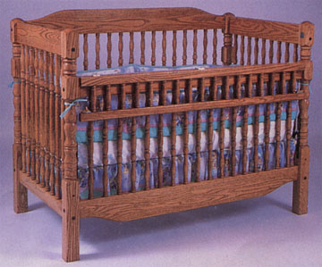 solid oak amish convertible child's bed original kinder spindle