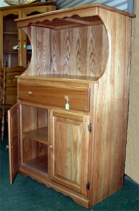 amish crafted solid oak microwave stand with drawer and storage cabinet