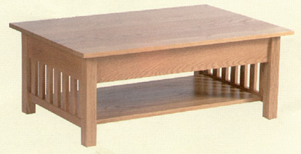 amish made solid oak mission style coffee table