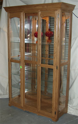 Solid Oak Amish Made Mirror Back Glass Display Cabinet
