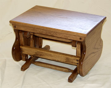 amish made solid oak ottoman matches solid oak glider and bench