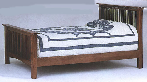 amish briarwood prairie mission bed in solid oak