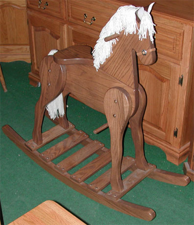 amish solid oak large rocking horse toy